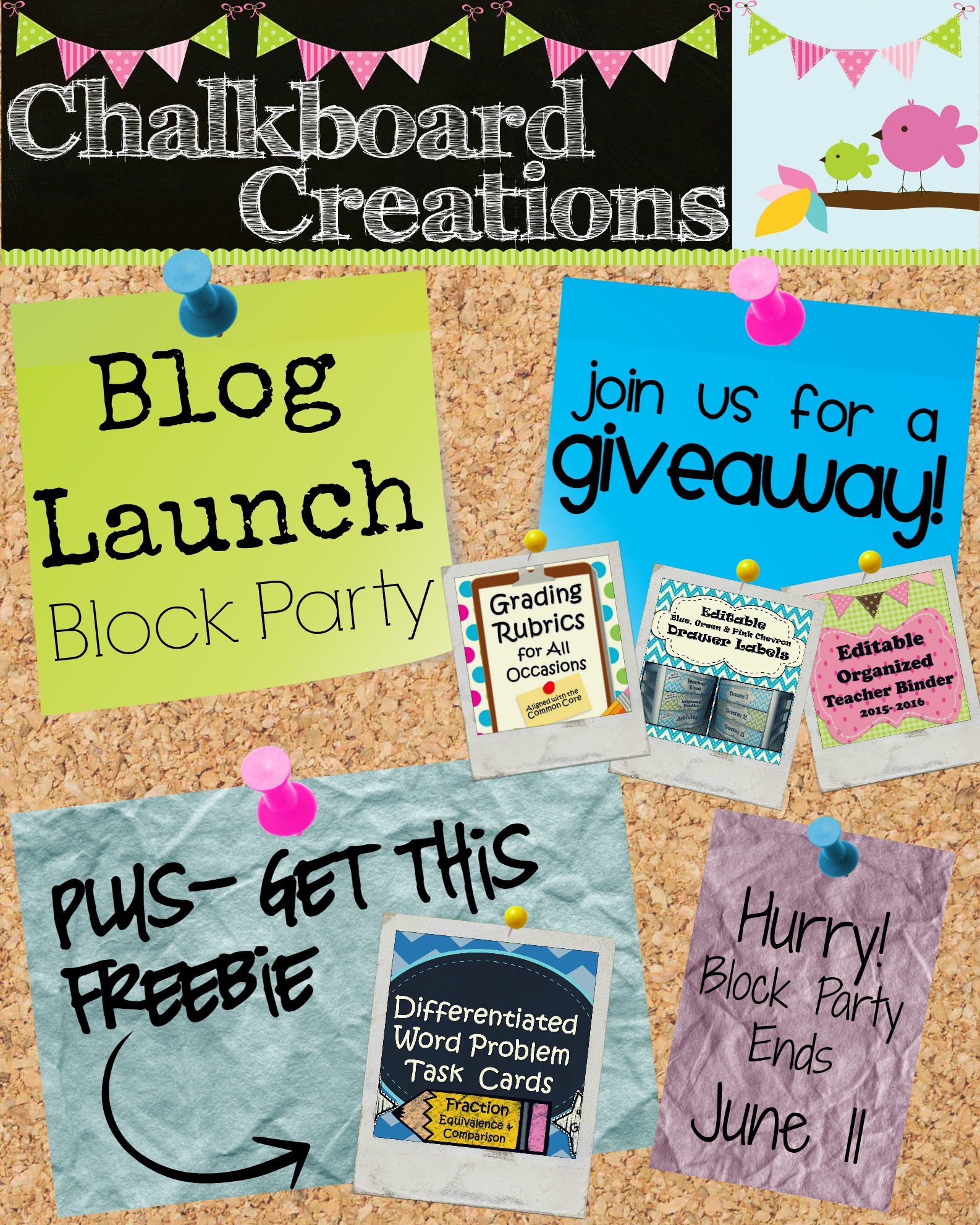 chalkboard Creations blog launch block party