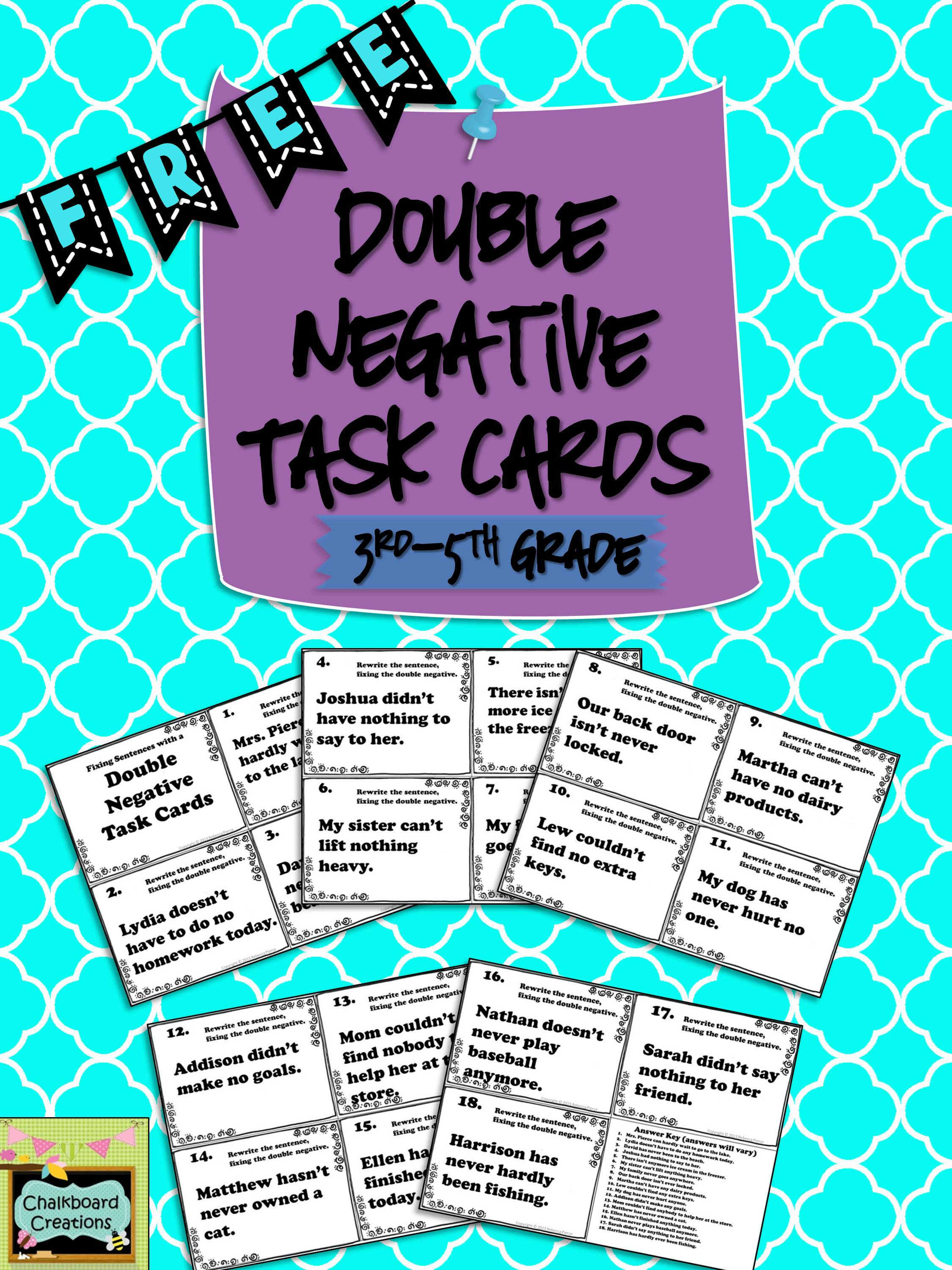 Free Double Negative Task Card Set