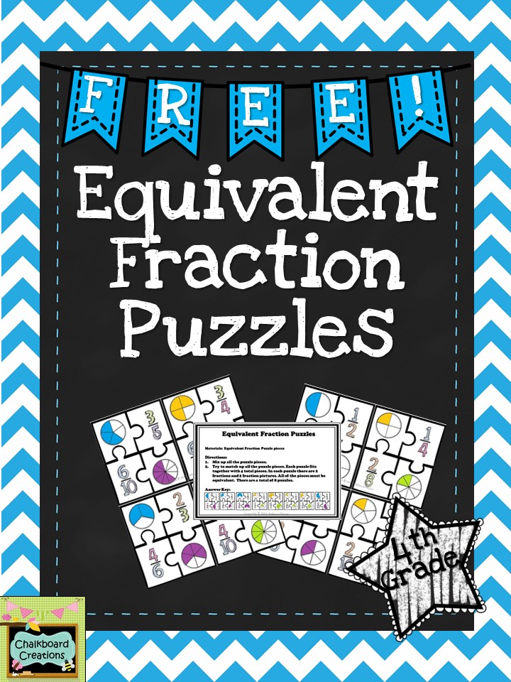 FREE Equivalent Fraction Puzzles! Great for math workshop!