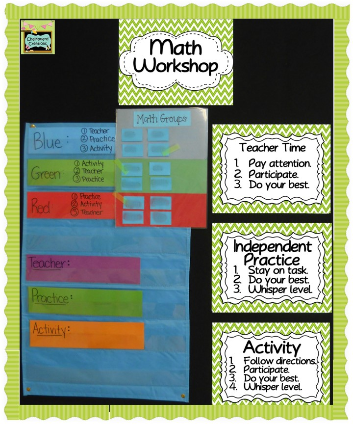 Check out these FREE green chevron Math Workshop Expectation Signs!